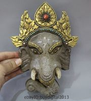 10 Tibet Buddhism Temple Crystal Bronze 24K Gold Gem Elephant Head Mask Statue