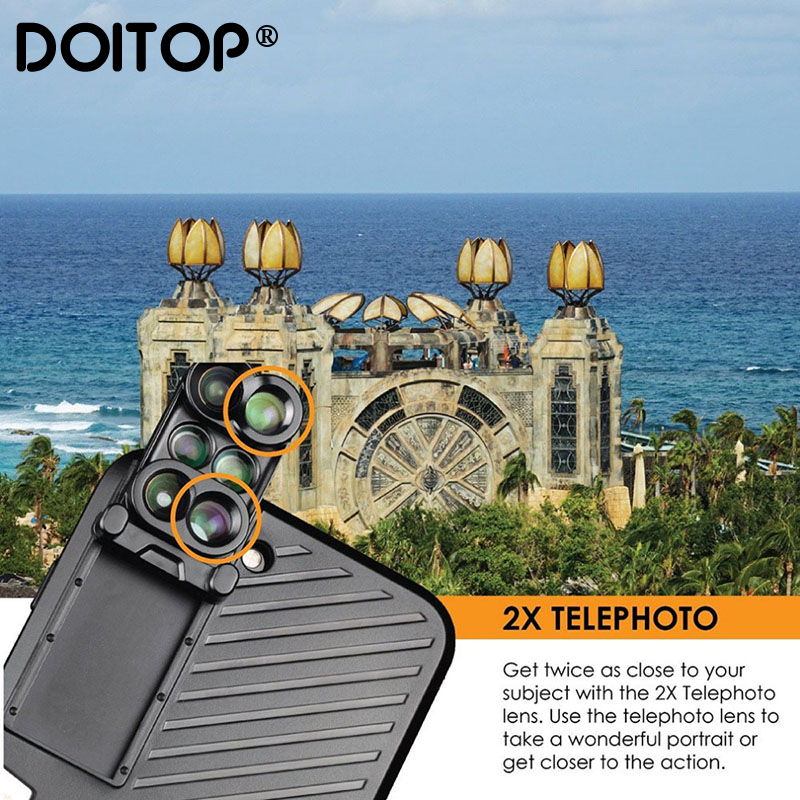 DOITOP 6 in 1 Phone Lens with Case for iPhone 7 8 Plus Wide Angle10X Macro Lens Phone Fisheye Telephoto Lens Camera Zoom Lenses