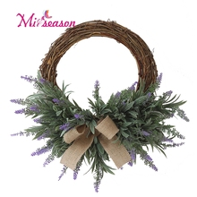 Artificial lavender flower garland wreath romantic fresh style wedding decor for living dining rm door Hanging decorative Nordic