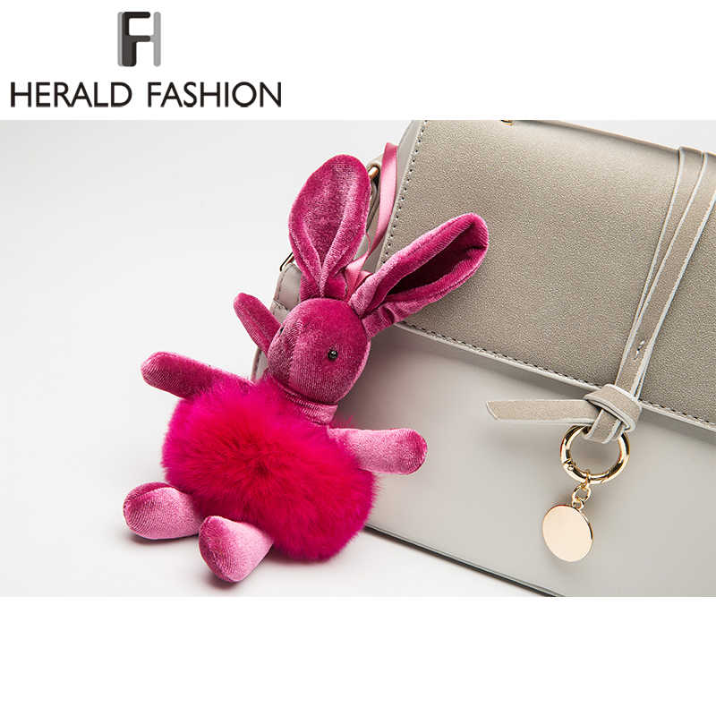 Herald Fashion Baru Wanita Kelinci Bulu Kelinci Pompom Bola Boneka Kantong Liontin untuk Tas Gesper Pesona Aksesoris