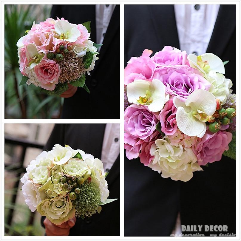 Purple Flower Wedding: 2018 Pink White Purple Artificial Silk Flower Wedding