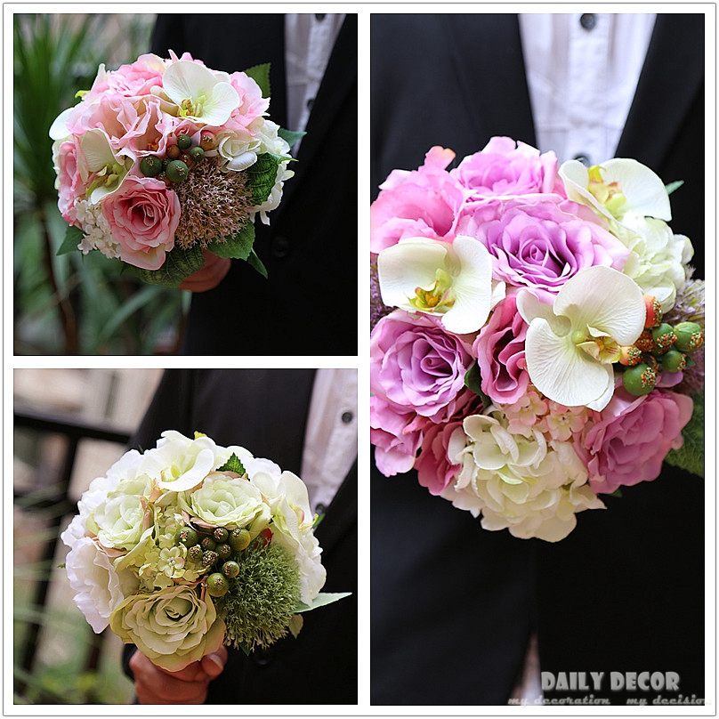 Wedding Purple Flowers: 2018 Pink White Purple Artificial Silk Flower Wedding