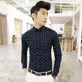 hot new fashion men's slim fit long-sleeve shirts polka dot shirts men