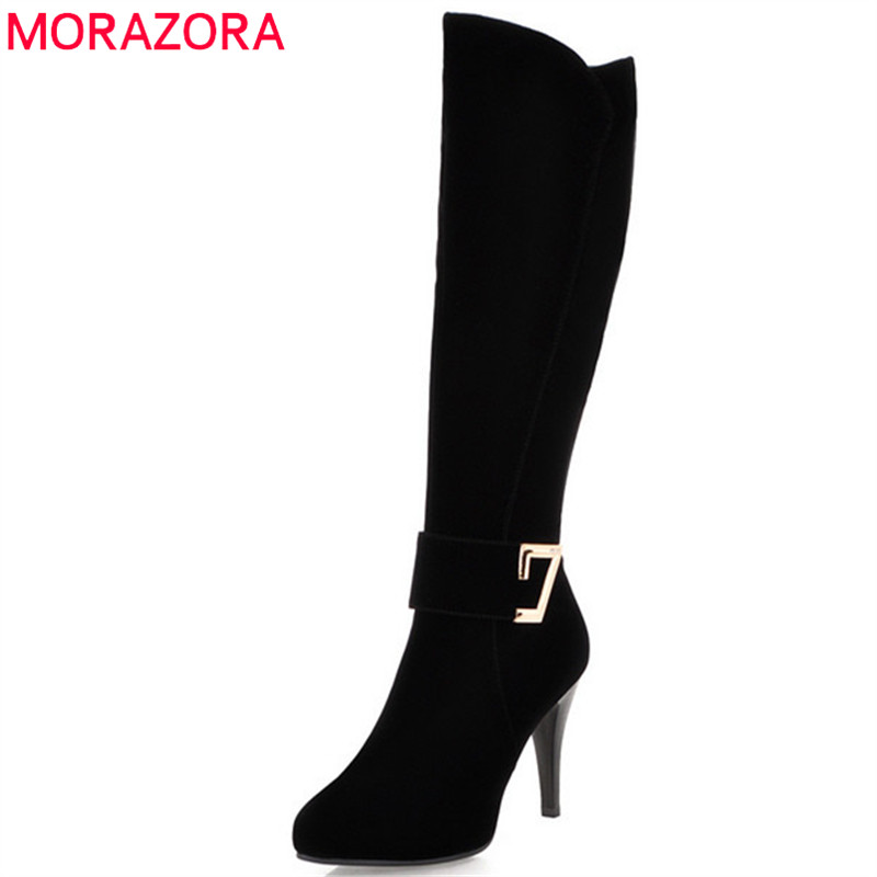 MORAZORA Knee high boots in spring autumn thin heels shoes woman fashion boots flock womens boots zip solid party ...