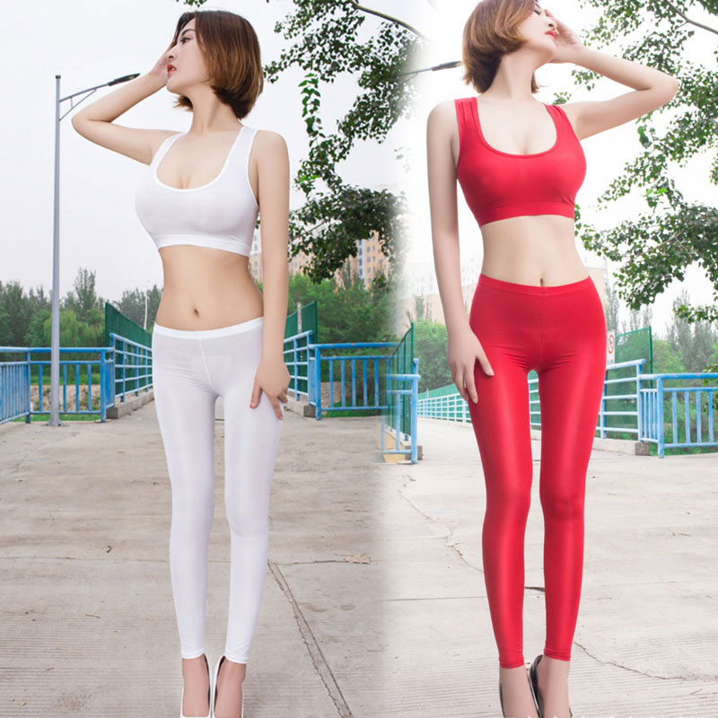 Women Ice Silk Smooth Transparent Pencil Pants Candy Color See Through Elastic Skinny Leggings Glossy Low Waist Pants Plus Size