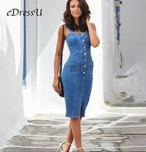 Женское джинсовое платье на бретельках повседневное облегающее