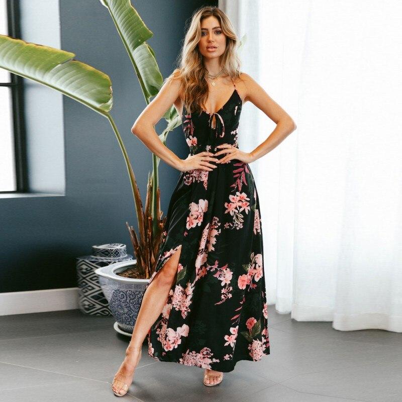Dress 2018 New Summer Pearls Boho Maxi Dress Deep V Floral A Line Tribal Women Dress