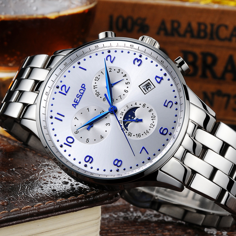 AESOP Automatic Mechanical Moon phase Watch Men Stainless Steel Wrist hand Wristwatch Male Clock Relogio Masculino