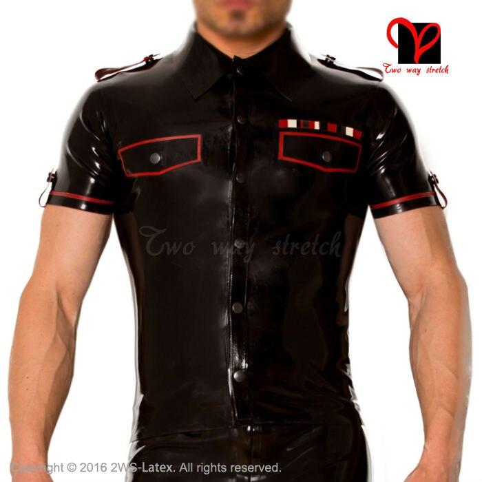 Latex military uniform T Tee font b shirt b font button high collar pocket flap Rubber