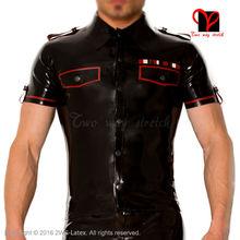 Latex military uniform T Tee shirt button high collar pocket flap Rubber Top Gummi blouse catsuit