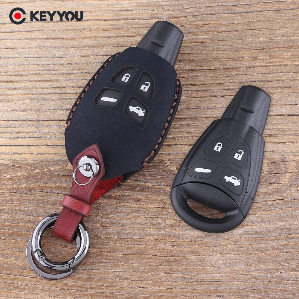 KEYYOU 4 Buttons Genuine Leather car key case shell cover For SAAB 9-3 9-5  93 95 Blank Remote Car Key Shell Fob Case Cover feeef21f0