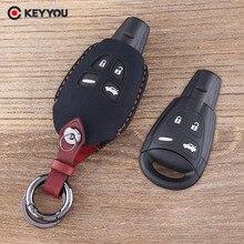 KEYYOU чехол для автомобильного ключа с 4 кнопками из натуральной кожи, чехол для SAAB 9-3 9-5 93 95, пустой чехол для автомобильного ключа с дистанцион...