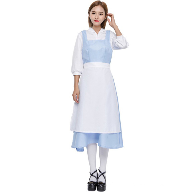 Halloween Schort Witte Volwassen Belle Maid Mouwen Vrouwen Lange N8P0yvnwOm