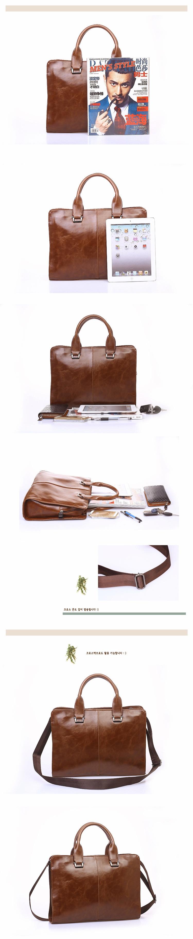 Classic Woman Men's Briefcases Leather Business Office Computer Laptop Bags austere Vintage Shoulder Crossbody Bags For ipad Men