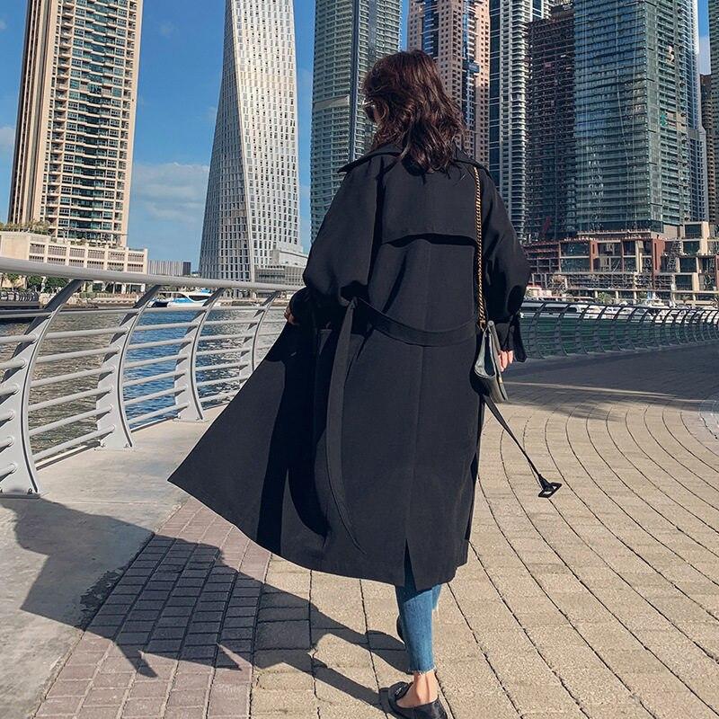 Autumn Women's Windbreaker Lapel Long Sleeve Bandage Casual Loose Long   Trench   Female Coat 2019 Korean Spring Clothing X885