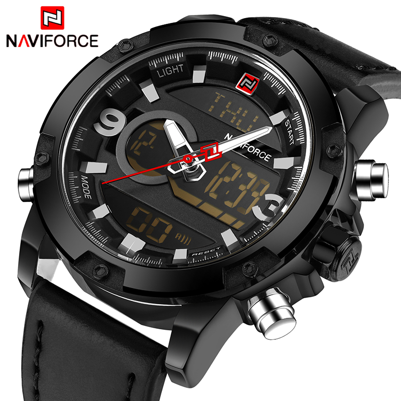NAVIFORCE Luxury Brand Men Sport Leather Watches Men's Quartz Digital LED Clock Male Army Military Wrist Watch Relogio Masculino crew neck button embellished tee