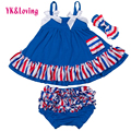 Baby Girl Ruffle Bloomer Sling Bat Shirt + Ruffle PP shorts 3Pcs Sets Infant Swing Top clothing for US National Day clothes