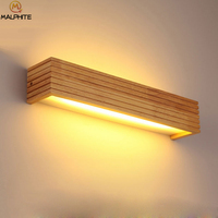 Modern Wood LED Wall Lights Bathroom Mirror Deco Lighting Hallway Bedside Lamp Home Balcony Sconce Vintage Wall Lamp Luminaire