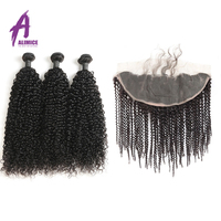 Alimice Indian Kinky Curly 3 Bundles With Frontal Human Hair Weave 13x4 Lace Frontal Closure With Bundles Remy Hair 8 28 inch