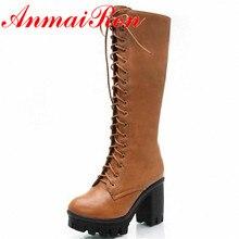 ANMAIRONสีดำสีเหลืองขนาดใหญ่34-43ลูกไม้ขึ้นกลางลูกวัวผู้หญิงรองเท้ารองเท้าใหม่สแควร์ส้นสูงบู๊ทส์แฟชั่นฤดูหนาวแพลตฟอร์มปั๊ม