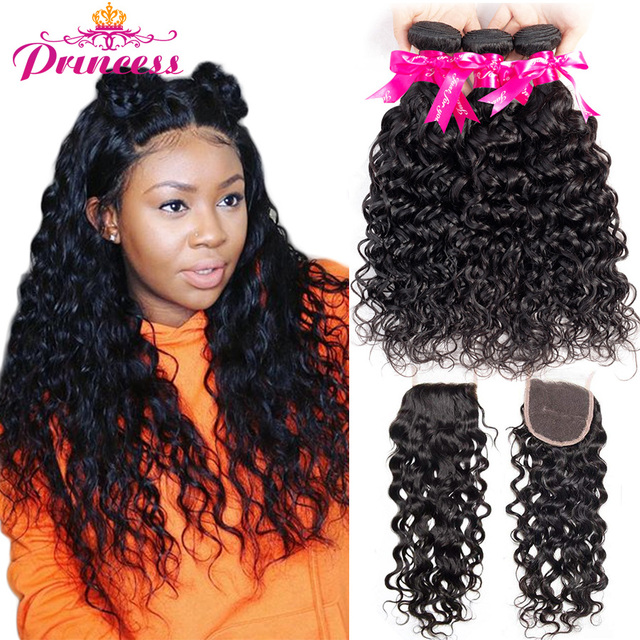 Beautiful Princess Hair Brazilian Water Wave Bundles With Closure