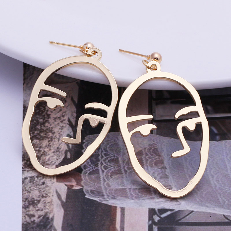 19 New Arrival Abstract Stylish Hollow Out Face Dangle Earrings Girls Statement Drop Earrings Charm Statement Earrings ES4 4