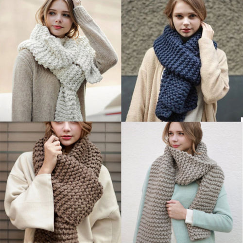 Fashion Women Ladies Warm Winter Long Cashmere Wool   Scarf   Large Shawl Lady Soft Crochet Knitted   Scarves     Wraps   Pashmina Ring