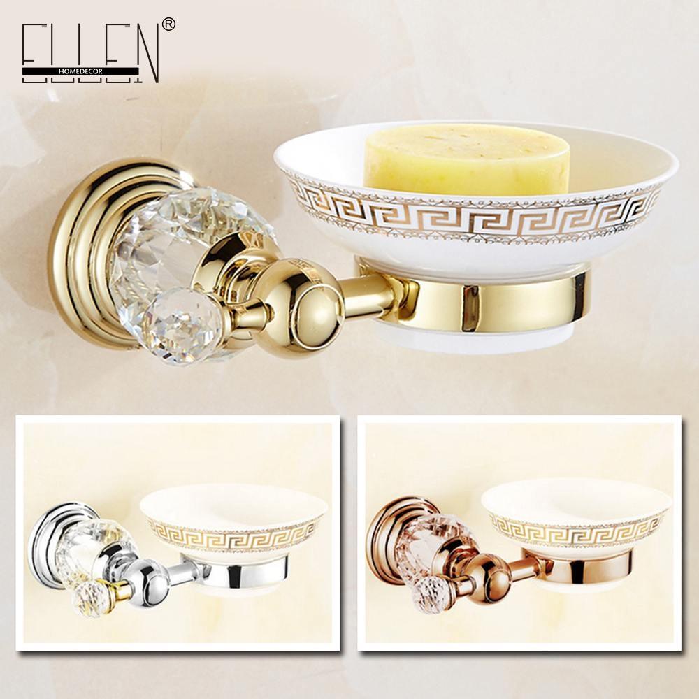 Luxury Crystal Brass Gold Bath Soap Holder Shower Soap Dish With Ceramic Dish Bathroom