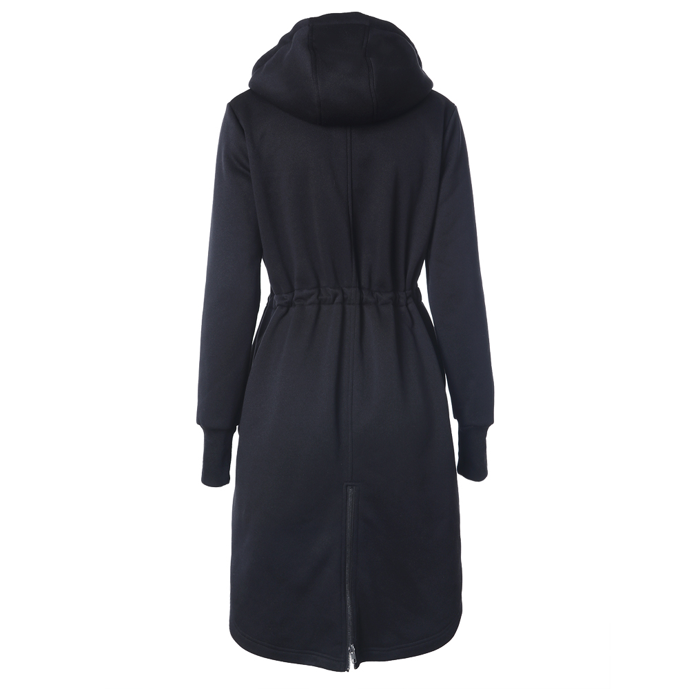 Womens Fashion Long Hoodies Casual Spring Autumn Long Sleeve Pocket Design Warm Hooded Sweatshirts Sliming Solid Zipper O