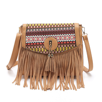 Retro Tassels Women's Crossbody Bags National Wind Folk custom Female Shoulder Bag PU Leather Brown Casual Mini Messergener Bag