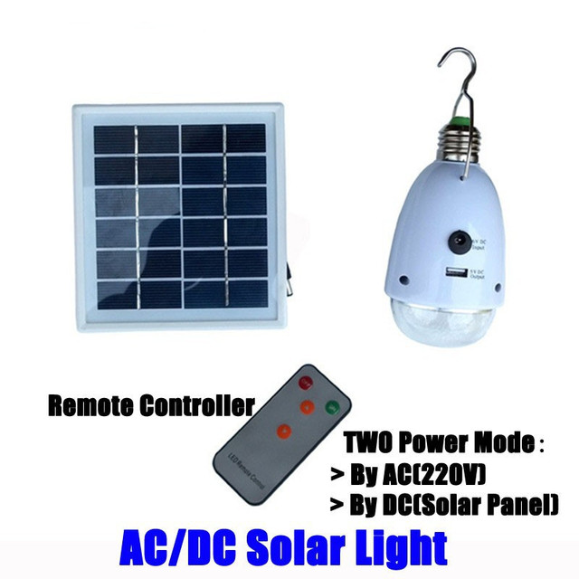 220V AC & 6V DC Solar Home Travel Camping Outdoor Indoor Solar LED ...
