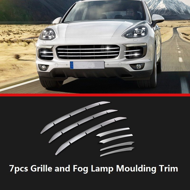 Stainless Steel Car Grille Cover Fog Lamp Mouldings Trim for Porsche Cayenne 2011 2012 2013 2014