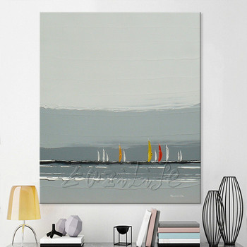 Hand painted canvas oil paintings Cheap large boat modern abstract oil painting wall decor Art pictures for living room 3