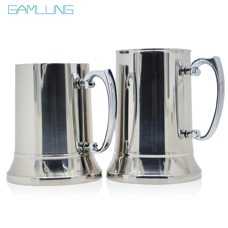Gamlung Brand Stainless Steel Tankard Stein Double Wall Beer Mugs High quality Mirror Cup 450ml 550ml
