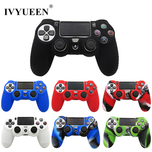 Image 1 - IVYUEEN New Version Silicone Case for Dualshock 4 for PlayStation 4 PS4 Pro Slim Console Skin Cover with Controller Grip Caps