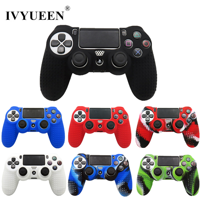 IVYUEEN New Version Silicone Case for Dualshock 4 for PlayStation 4 PS4 Pro Slim Console Skin Cover with Controller Grip Caps