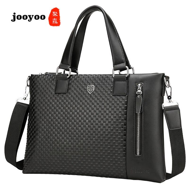 Nouvelle mallette d'affaires en cuir pour hommes sac à bandoulière Portable Horizontal jooyoo