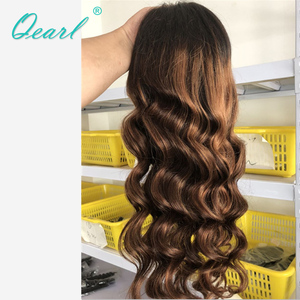 Image 4 - Full lace Wigs 1B/33#/30# Highlight Ombre Color Real Human Hair Wigs 180%/200% Thick Density Remy Brazilian Wavy Hair Wigs Qearl