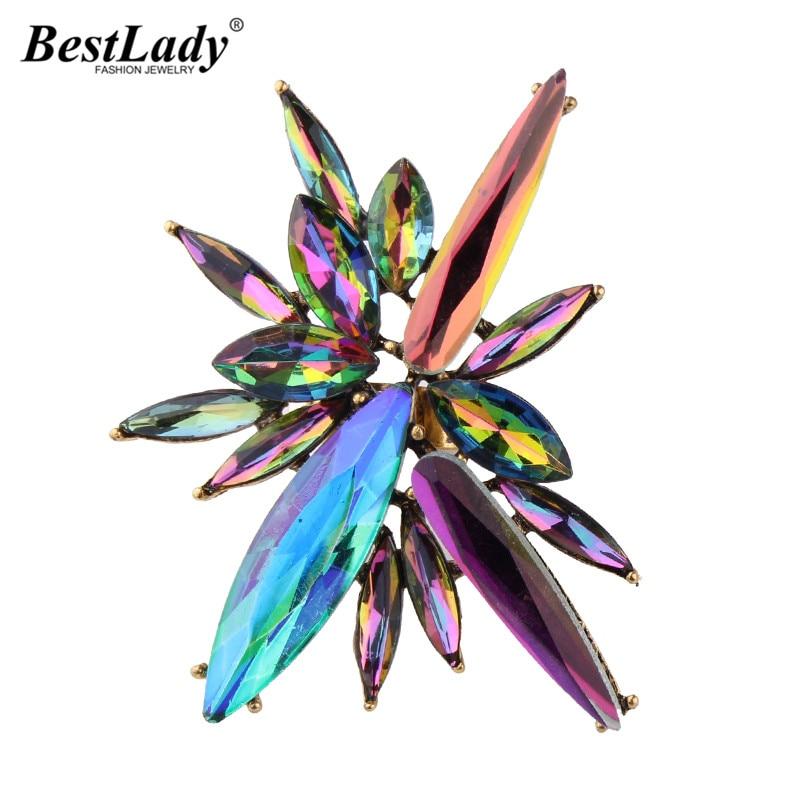 Најбоља дама Нови секси дизајн разнобојни боемски криж шарм Луксузни кристално подесиви отворени прстенови жене велепродајни прстенови на велико