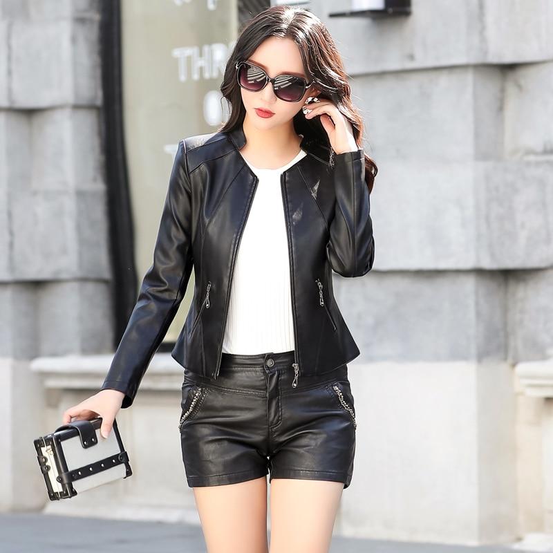 de35cc3730b 2018 Female Leather Jacket Plus Size Leather Jacket For Women Autumn Winter  Motorcycle Faux Leather Coat Ladies Short Outfits