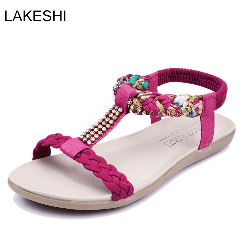 LAKESHI Fashion Women Sandals Flats Ankle-Strap Women Shoes Summer Sandals Ladies Beach Shoes cootelili real fur ankle strap gladiator sandals women flats 2017 summer tassel shoes ladies wedding beach sandals bohemian