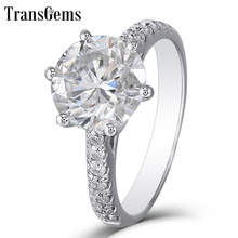Transgems 3ct Carat FG Color Moissanite Genuine 14K White Gold Engagement Ring for Women Wedding Gift with Accents Ladies