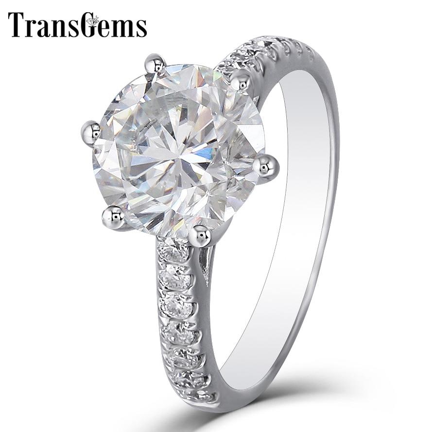 Transgems FG Cor Quilates Moissanite 3ct Genuine 14 K Branco Anel de Noivado De Ouro para As Mulheres Do Presente de Casamento com Detalhes Em Senhoras anel