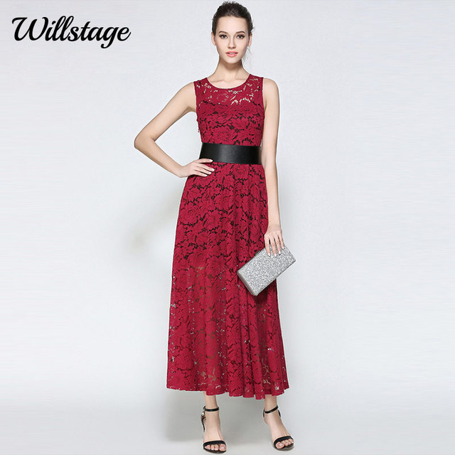 Willstage Women Long Lace red dresses Two Pieces Sexy Hollow out Maxi Dress  With Belt Elegant Vintage 2018 Summer Office OL Work 2eaaaa07326a