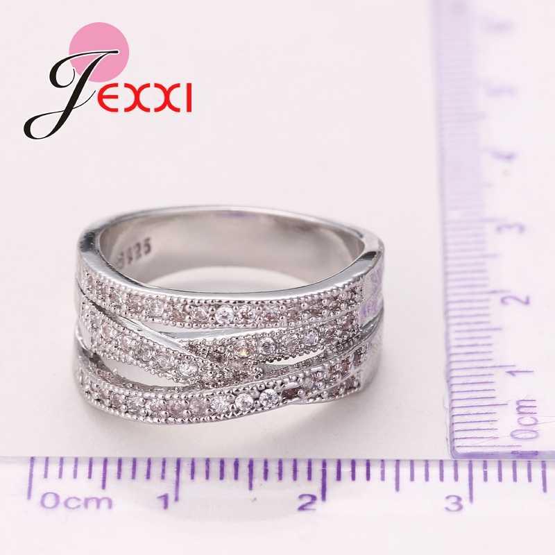 Plata de Ley 925 auténtica austriaco de Zirconia cúbica afilada transparente de Anillos de dedo de cristal para mujeres, regalo de joyería para mujer