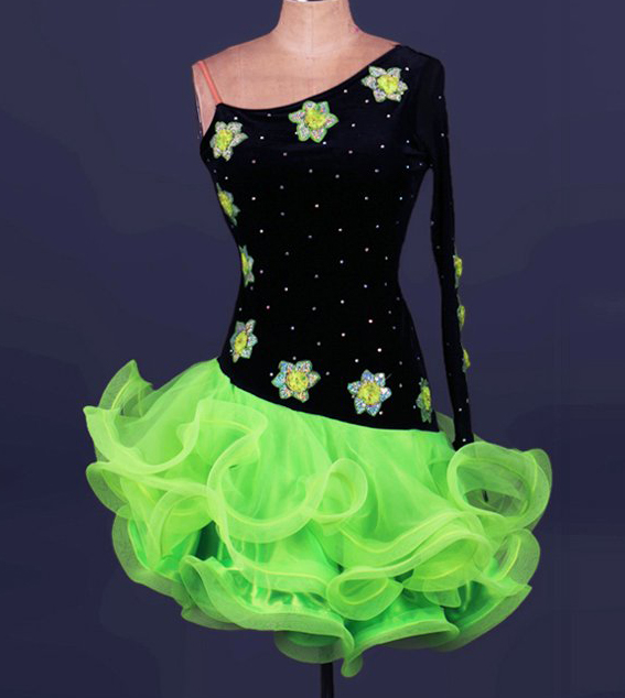 one sleeve green match black  flower diamond latin Rumba cha cha salsa tango vestido latinodance dress competition  wear S-XXXL