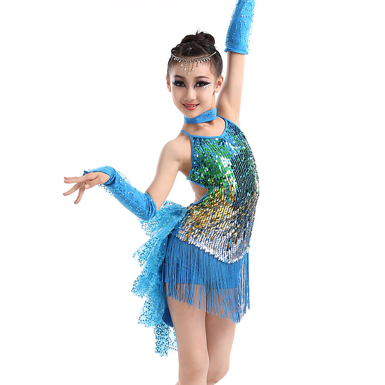Picture of Blue Yellow Red Tassel Latin Dance Costumes For Kids Sequined Tango Samba Costume Rumba Dance Dress Girl Competition Dance Wear