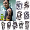 5x Styles 3D Waterproof Body Arm Sleeve Art Tattoo Sticker Handsome Tatouage Glitter Black Temporary Tattoos Tatoo For Man Women