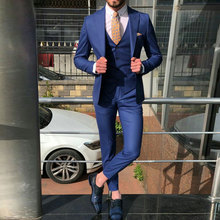 Custom Made Navy Blue Men Suits for Wedding Suits Groom Tuxedos Peaked Lapel Slim Fit Terno Masculino Man Blazer Suits 3Pieces