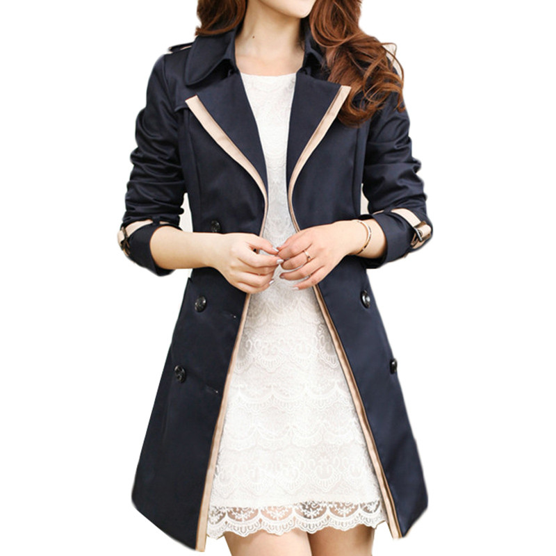 Slim Double Breasted   Trench   Coat Women Korean Spring Autumn Turn-down Collar Windbreaker Fashion Elegant Outerwear Tops Female